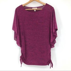 Dana Buchman Knit Tunic Top Flutter Sleeve Ruched
